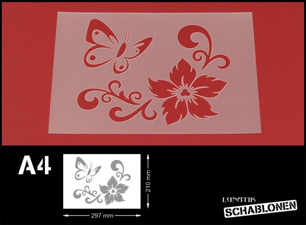 profi schablone blumen schmetterling mf25 ebay. Black Bedroom Furniture Sets. Home Design Ideas