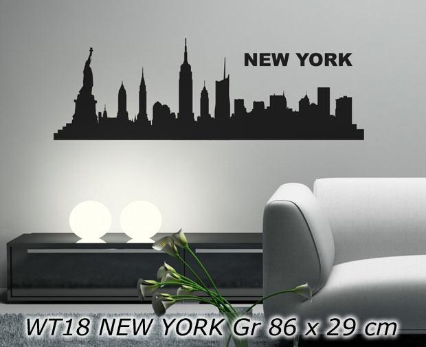 wandtattoo aufkleber skyline stadt new york klein wt18 ebay. Black Bedroom Furniture Sets. Home Design Ideas