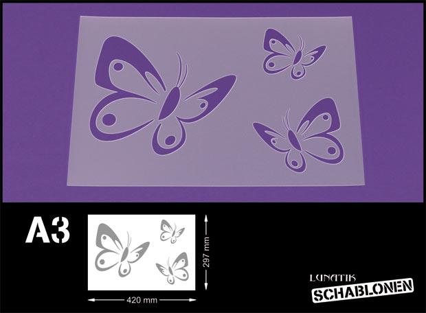 schablone din a3 butterfly 3 schmetterlinge lt28 ebay. Black Bedroom Furniture Sets. Home Design Ideas