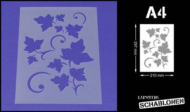 Wandschablone Maler T-shirt Schablone W-379 Vintage Efeu ~ UMR Design